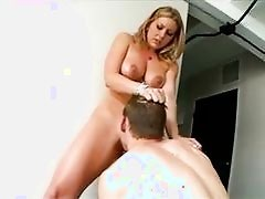 Stunning blonde with large hooters does deep throat