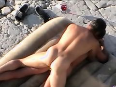 Three Mature Ukrainians Fuckin' and Suckin' on the Beach