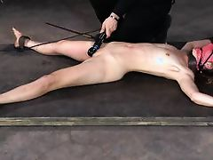 tied to the floor and caned