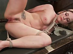 a huge pole in the slave's pussy