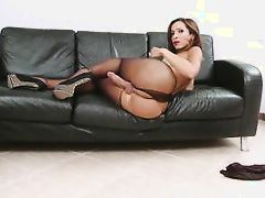 horny shemale plays with herself