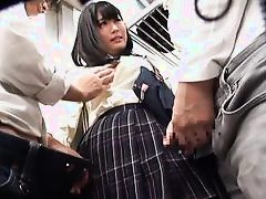 japanese slut gets aroused in public transport