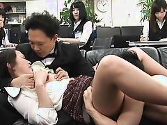 asian babe gets undressed by horny boss