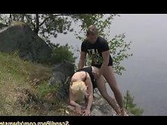 scandi teen couple fucks in nature