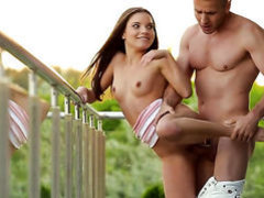 Brunette Anita Bellini takes dudes cum loaded