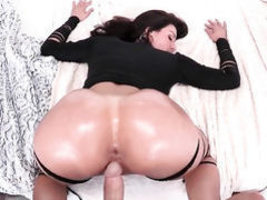 Brunette stunner Kendra Lust with huge hooters and bald snatch
