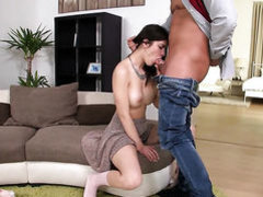 Brunette Suzy Bell kills time fucking with hard cocked guy