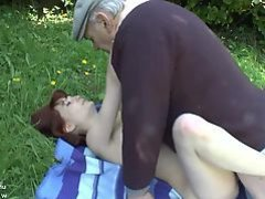 Pretty young french redhead banged by oldman voyeur outdoor
