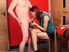 CFNM redhead wanks man in christmas mankini