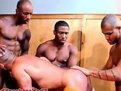Ebony hunks gangbanging asian ass in fourway