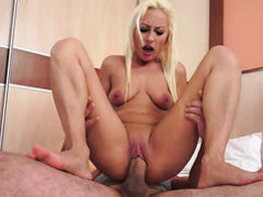 Blonde gets her mouth fucked hard and deep