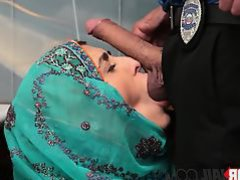 Kinky officer feeding an arab teen with throbbing sausage