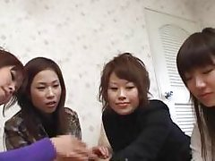 Japanese women play with and give small asian man a handjob