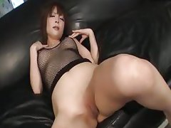 Riona looks sexy in black and her husband bends her over to toy her pink pussy with a love stick