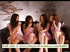 Akiho Yoshizawa naughty Chinese model has a lesbo foursome