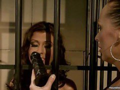 Horny and wild brunette hair darling friends take part in in playing domination